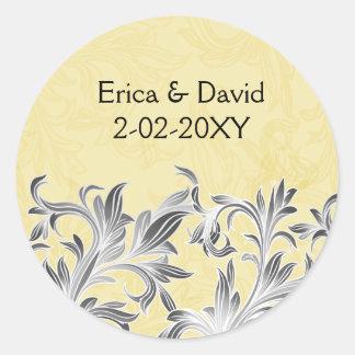 Yellow and Gray Vintage Flourish Wedding Round Sticker
