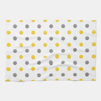 Yellow and Gray Watercolor Polka Dots Tea Towel
