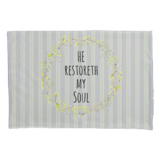 Yellow and Gray with Bible Verse Pillowcase