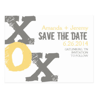 Yellow and Gray XOX Save the Date Postcard