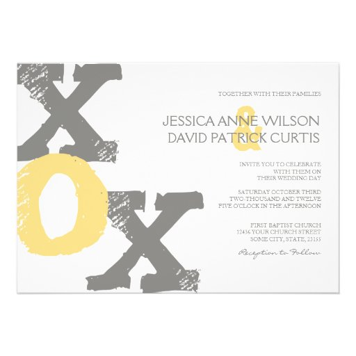 Yellow and Gray XOX Wedding Invitation