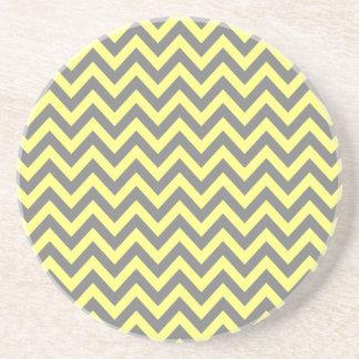 Yellow and Gray Zigzag Coaster