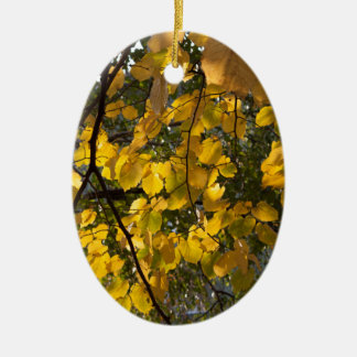 Yellow and green autumn leaves ceramic oval decoration