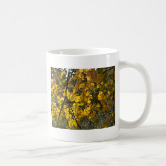 Yellow and green autumn leaves coffee mug