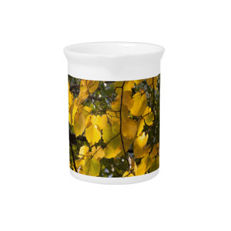 Yellow and green autumn leaves pitcher