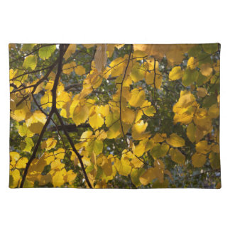 Yellow and green autumn leaves placemat