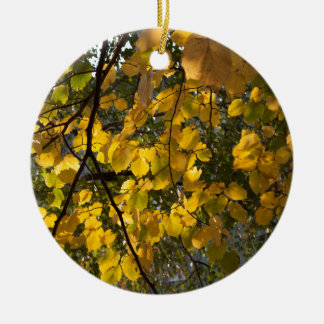 Yellow and green autumn leaves round ceramic decoration