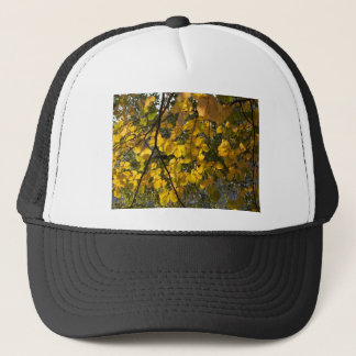 Yellow and green autumn leaves trucker hat