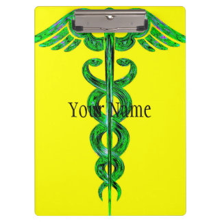 Yellow and green Caduceus clipboard