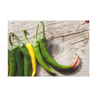 Yellow and Green Chili Pepper Canvas Prints