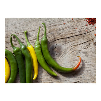 Yellow and Green Chili Pepper Poster
