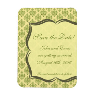 Yellow and Green Damask Save the Dates Rectangular Photo Magnet