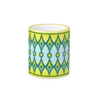 Yellow and green diamond design mug