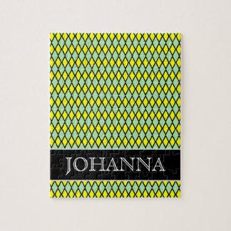 Yellow and Green Diamond Shape Pattern + Name Jigsaw Puzzle