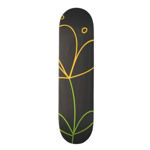 Yellow and Green Doodle Flower on Dark Gray Custom Skateboard