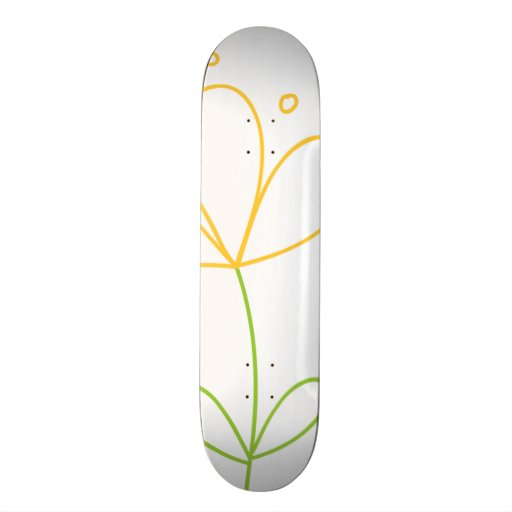 Yellow and Green Doodle Flower on White Skateboard