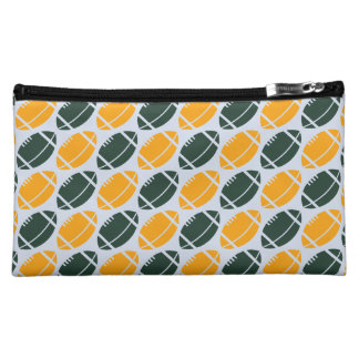 Yellow and green football (rugby) pattern cosmetic bag