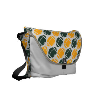 Yellow and green football (rugby) pattern courier bags