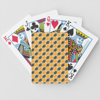 Yellow and green football (rugby) pattern poker deck