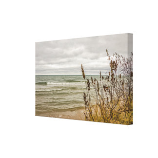 Yellow and Green Grasses and Waves Canvas Print
