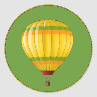 Yellow and Green Hot Air Balloon Round Sticker