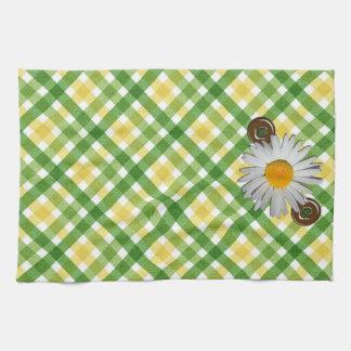 Yellow and Green Plaid Daisy American MoJo Kitchen Tea Towel