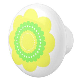 Yellow and Green Polka Dot Flower Ceramic Knob