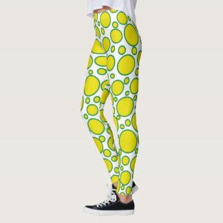Yellow and Green Polka Dots Leggings