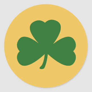 Yellow And Green Shamrock St. Patrick's Day Clover Round Sticker