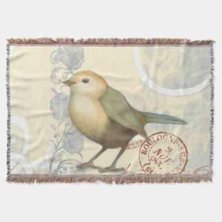 Yellow and Green Sparrow on Vintage Background
