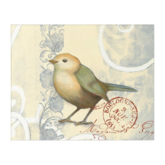 Yellow and Green Sparrow on Vintage Background Acrylic Wall Art