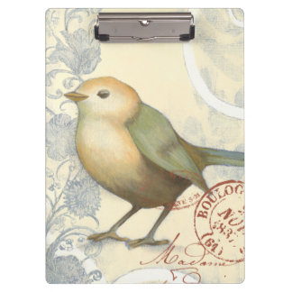 Yellow and Green Sparrow on Vintage Background Clipboards