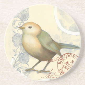 Yellow and Green Sparrow on Vintage Background Drink Coaster