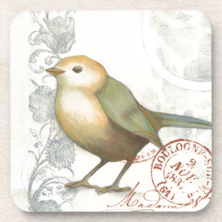 Yellow and Green Sparrow on Vintage Background Drink Coasters