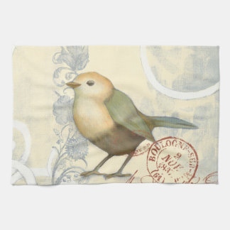 Yellow and Green Sparrow on Vintage Background Kitchen Towels
