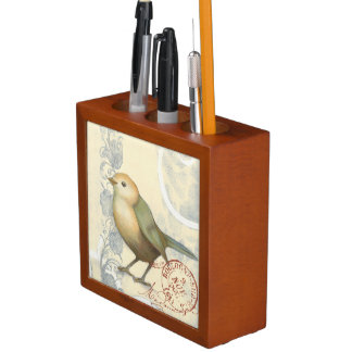 Yellow and Green Sparrow on Vintage Background Pencil Holder