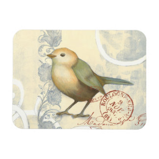 Yellow and Green Sparrow on Vintage Background Rectangular Photo Magnet