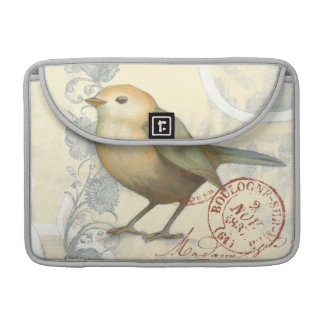Yellow and Green Sparrow on Vintage Background Sleeves For MacBooks