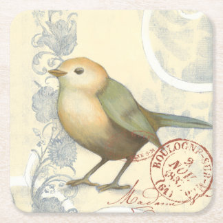 Yellow and Green Sparrow on Vintage Background Square Paper Coaster