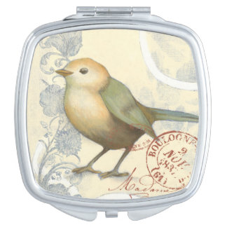 Yellow and Green Sparrow on Vintage Background Travel Mirrors