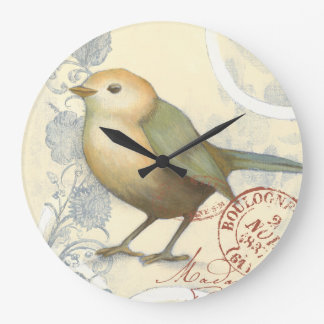 Yellow and Green Sparrow on Vintage Background Wall Clock