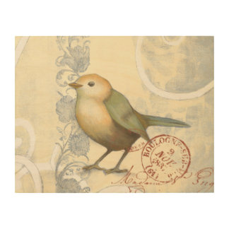 Yellow and Green Sparrow on Vintage Background Wood Wall Decor