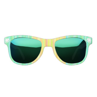 Yellow and Green Stripes with White Elephants Sunglasses