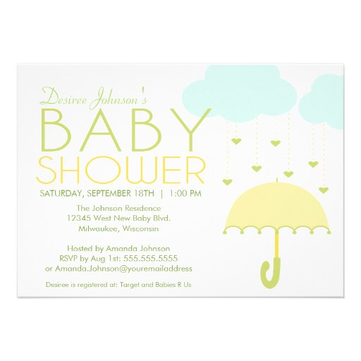 Yellow and Green Umbrella Baby Shower Invitation Personalized Invites