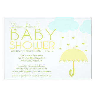 Yellow and Green Umbrella Baby Shower Invitation