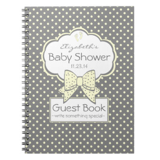 Yellow and Grey Baby Shower Guest Book- Notebook