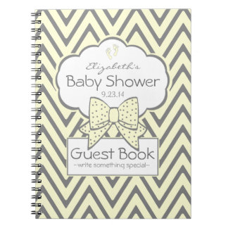 Yellow and Grey Chevron Baby Shower Guest Book Notebooks