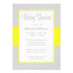 Yellow and Grey Chevron Baby Shower Invitations