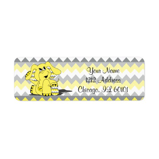 Yellow and Grey Chevron Elephant  | Shower Theme Return Address Label