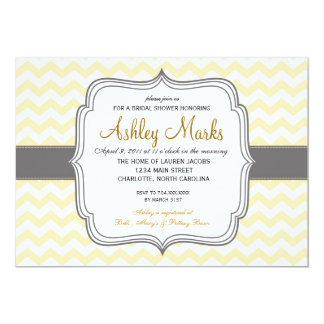 Yellow and grey Chevron Invitation